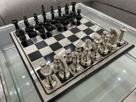 Beautiful Extra Large Heavy Silver and Black Chess Board Game Home Decor