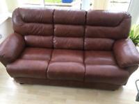 Italian 3 seater leather sofa like new
