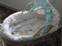 Mothercare Baby Moses Basket complete with Pine stand