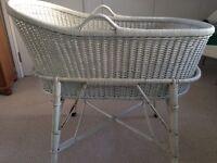 White wicker bassinet