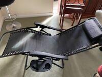 2x black zero gravity garden chairs