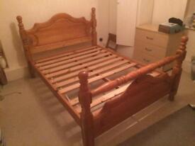 Double bed frame, ikea mattress and memory foam mattress topper