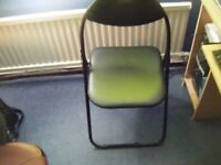 BLACK PADDED FOLDAWAY CHAIR-LIKE NEW CONDITION-CLOSE OFFERS CONSIDERED