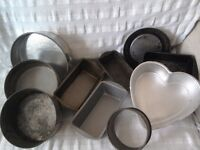 Selection of 10 used cake tins ,various shapes