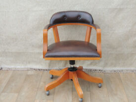 Vintage style Chesterfield Brown captains chair (Delivery)