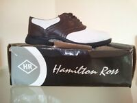 NEW - HAMILTON ROSS MENS GOLF SHOES (BROWN & WHITE)