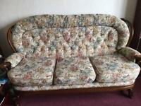 Three seater settee and matching chair.