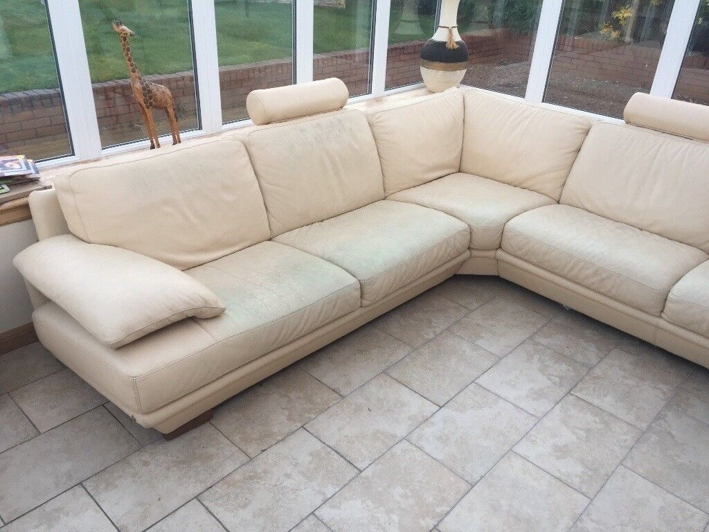 Natuzzi Cream Leather Corner Sofa In Southside Glasgow