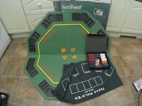 Everything you need to throw a poker party! (chips, cards, table, mats, drink holders)