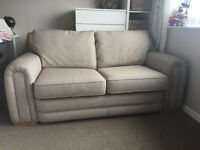 2 seater pull out beige sofa bed, great condition
