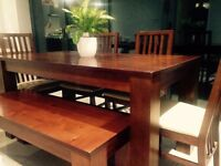 6/7 seater Mango Wood Dining Table including 4 chairs and bench- open to offers