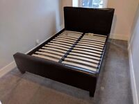 Brown faux leather double bed frame & set of bedside tables