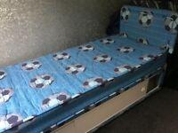 BOYS SINGLE BED. BLUE FOOTBALL SHORT DIVAN. STORAGE BED & MATTRESS WITH HEADBOARD.