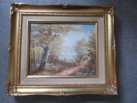 Vintage framed landscape oil painting