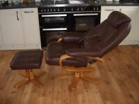 Brown Leather Reclining Swivel Chair with Stool (Good Condition)
