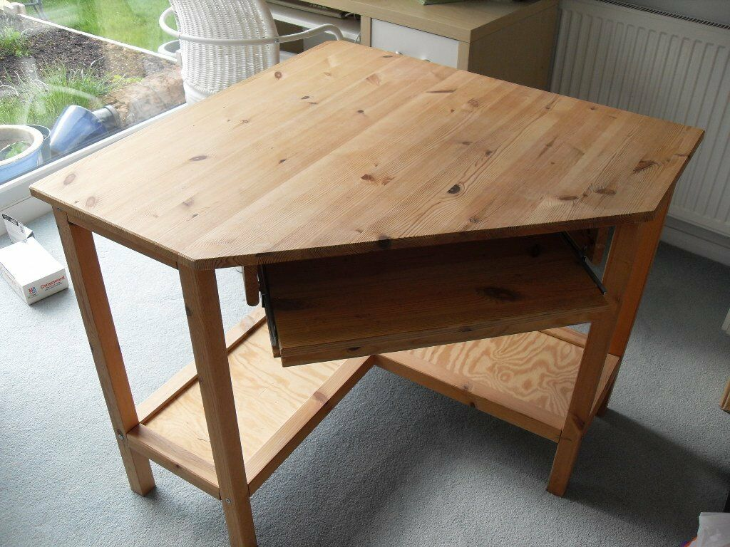 Ikea pine corner desk with shelf buy sale and trade ads for Pine desk ikea