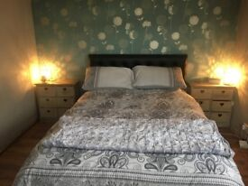 Black leather look double bed