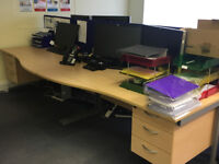 4 x Beech Wave Office Desks with metal legs and 2 desk dividers (drawers not included)