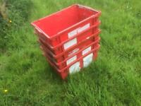 5x Heavy Duty Storage Crates Boxes Euro Stacking Container Plastic