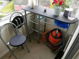 Bean bag, coffee table, bar set, book shelf