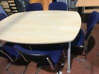 6ft Medium Maple Conference Table & 6 Chairs (Set)