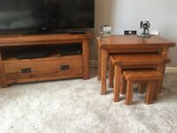 Solid Wood TV Unit and Nest of Tables