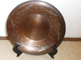 Copper and pewter plate with stand - vintage