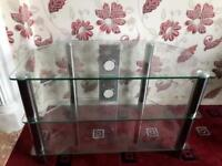Clear & Chrome TV Stand Very Good Condition £15
