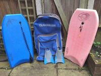 Bodyboards, fins and bag for sale