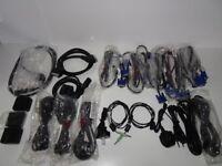 Job Lot - 22 Cables - UK EU IEC - CEE7 - SVGA VGA - UK EU Australian Figure 8 - Scart - USB - UB10D