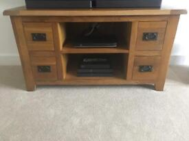 Oak furniture tv unit and lamp table