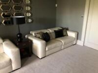 2 + 3 Seater Cream Leather 3 Seater Reclining