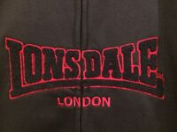 VINTAGE LONSDALE TRACKSUIT - NAVY WITH RED STRIPES, SIZE 16