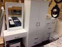 New Charles white bedroom wardrobe £139 bedside £55 chest £125 dressing table set £129