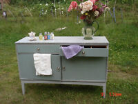 Linen Cupboard, Sideboard, Duck Egg Blue & Paris Grey, with 2 drawers