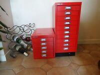 BISLEY FILING CABINETS X 2 -- 1 x 5 drawer & 1 x 10 drawer