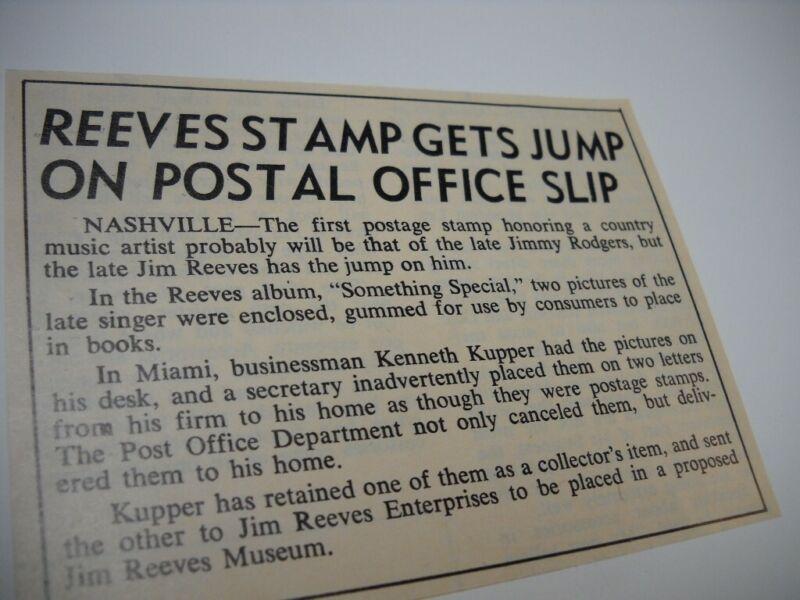JIM REEVES Stamp Gets Jump On POST OFFICE Slip vintage music biz promo pic/text