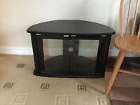 TV STAND BLACK WITH GLASS DOORS