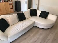 White Leather Corner Sofa Couch - FREE