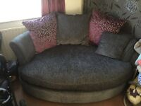 Dfs 4 seater charcoal grey chaise longue & cuddler £1200 ONO