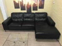 LARGE BLACK LEATHER CORNER SOFA WITH CHAISE AND SILVER FEET FOR SALE - CHEAP DELIVERY - £450
