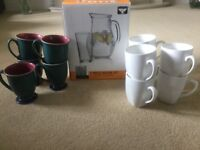 Denby and maxwell Williams mugs and 7 piece raven head jug and glasses