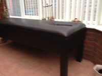HANDCRAFTED, SOLID WOOD, BLACK LEATHER MASSAGE TABLE