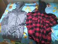 2 hoodies red and grey