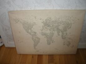 Cream Canvas World Map - words make up countries