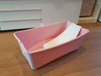 Stokke Flexi Bath (pink) with baby support seat accessory - excellent condition