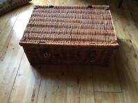 Wicker picnic hamper, leather trimmings £10
