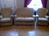 Sherborne upholstery 3 piece suite. 2 seater sofa,