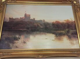 Beautiful large painting of Windsor Castle in gold frame