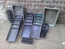 Garden seed trays and flower pots